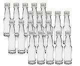 20 leere Mini Glasflaschen Lang 40 ml Silber Glasfläschchen kleine Flaschen incl. Schraubverschluss Likörflaschen zum selbst Abfüllen Schnapsflaschen Essigflaschen
