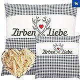 Herbalind 2er SPARSET Zirbenkissen Dekokissen Zirben Kissen Zirbenliebe mit Reißverschluss - Tiroler Zirbenflocken Kopfkissen 100% Baumwolle ohne Zusatzstoffe, Schlafkissen, Duftkissen, Zierkissen