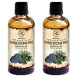 Zirbelkieferöl 2x100ml - 100% Natürliche & Reines Ätherisches Zirbenöl 200ml - Pinus Cembra - Zirben Öl-Guten für Sauna - Aromatherapie - Aroma Diffuser - Naturreines Öl aus der Zirbe - Arvenöl